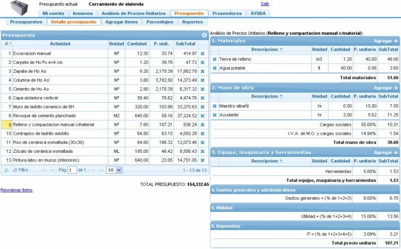 Insucons presupuesto y construccion ejemplo productos for Presupuesto para una pileta de material